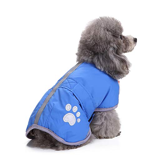 Amphia - Haustier Hund Klettjacke Mantel Kleidung,Kaltes Wetter Hundemäntel Loft Reversible Winter Fleece Hundeweste Haustier Jacke(Blau,L)
