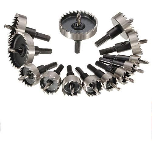 Accesorios de herramientas 13 unids HSS Drill Bit Bit Stet High Steel Carbide Tip Agujero Sierra Cortador Diente Metal Perforación Mano Hand Wodwork Corte Carpintería Coronas ( Color : 13pcs )