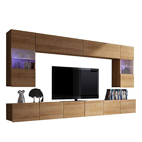 Moderne Wohnwand Calabrini I, Anbauwand, Mediawand, Hängevitrine, TV Lowboard, Wandregal, Wohnzimmerschrank, Fernsehschrank (mit Blauer LED Beleuchtung, Eiche Gold)