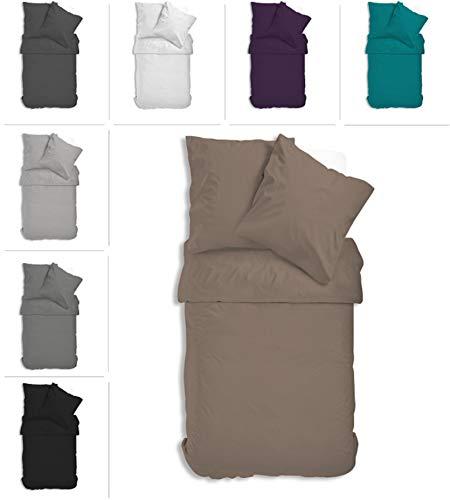 one-home Uni Bettwäsche Einfarbig Mikrofaser Garnituren Bettbezüge Premium Reißverschluss (beige/Nougat, 4 teilig 135x200 cm)