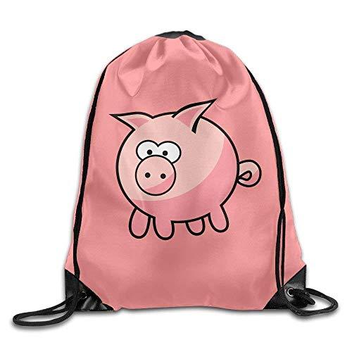 Lsjuee Cute Cartoon Pig Print Drawstring Backpack Rucksack Shoulder Bags Gym Bag Sport Bag