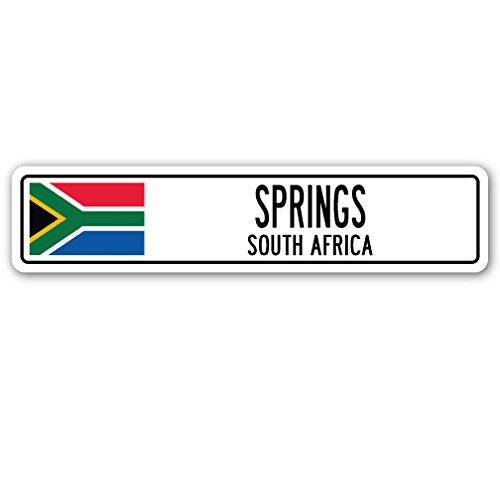 Springs, South Africa Street Sign South African Flag City Country Road Wall Gift