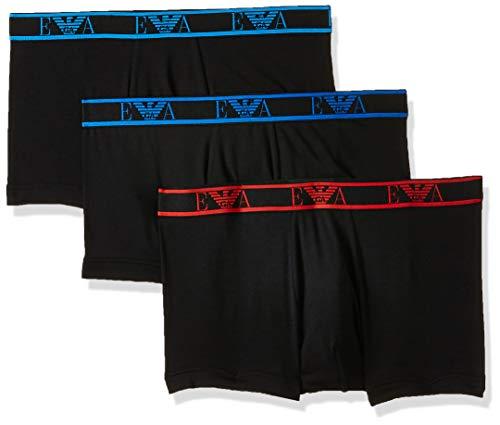Emporio Armani Underwear Herren Multipack - Monogram 3-Pack Trunk Badehose, Schwarz (Nero/Nero/Nero 73320), Medium (Herstellergröße:M)