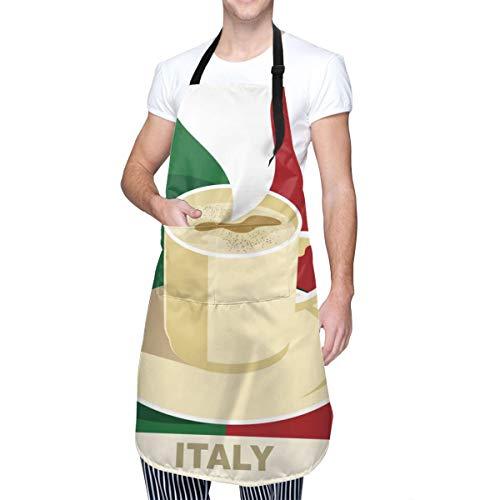 MOLIAN Küchenschürze mit italienischer Flagge, mit 2 Taschen, für Zuhause, Garten, Grill, Koch, Kochschürzen für Damen und Herren – Geschenke