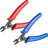 2 Pieces Bead Crimper Crimping Pliers Wire Cutter Jewelry Making Tool Deep Blue and Red Steel Micro Tube Tool for Varieties of Jewelry Processing