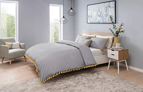 Sleepdown Tassels Bedding Set (Grey/Mustard Double Size) Duvet Set with Pillowcases