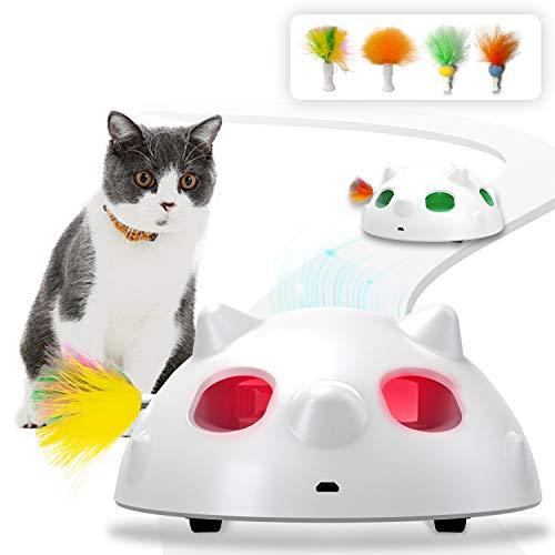HOFIT Interaktives Elektrischer Katzenspielzeug,Automatischer Federspielzeug mit Feder interaktives Spielzeug Intelligenzspielzeug für Katzen