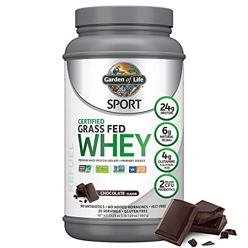Garden of Life Sport Certified Grass Fed Clean Whey Protein Isolate, Chocolate, 23.28 Oz