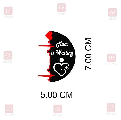ISEE 360 Vinyl Decals Car Mom is Waiting at Home Sticker for Scooter Fascino/Activa/Royal Enfield Classic 350 500 Standard/Tank Meter Back Side, 5.00 x 7.00 cm (Red, Black and White)