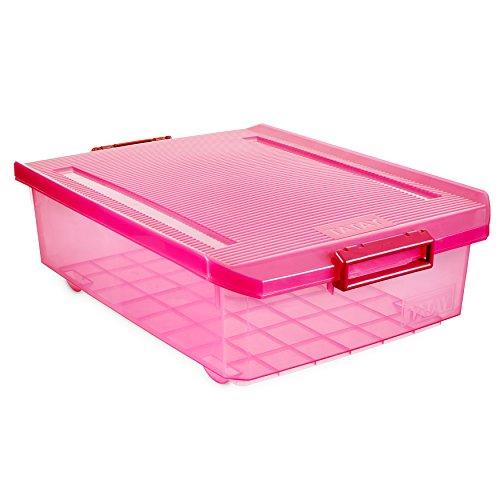 Tatay 1151212 Caja de Almacenamiento Multiusos Bajo Cama con Tapa, 32 l de Capacidad, Plástico Polipropileno Libre de BPA, Fucsia Translúcido, 40 x 56 x 17,5 cm