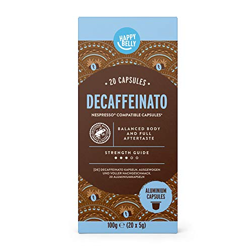Marca Amazon - Happy Belly Espresso Decaffeinato- Café molido de tueste natural descafeinado en cápsulas en aluminio compatibles con Nespresso, 20 cápsulas (1x20) - Rainforest Alliance