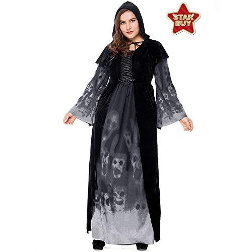 COSOER Halloween-Hexe-langes Vampirs-Kostüm Schädel-Druck-Königin-Kleidung,Cranium-L