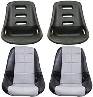 Appletree Automotive Low Back Poly Seat Shells, with Black & Grey Seat Cover Compatible with VW & Dune Buggy