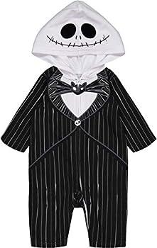 Nightmare Before Christmas Jack Skellington Toddler Boys Hooded Costume Coverall Black 2T