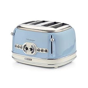 Ariete Vintage 156 Grille-pain 4 tranches, 6 niveaux de grillage, 1600 W, acier inoxydable, 4 fentes, bleu