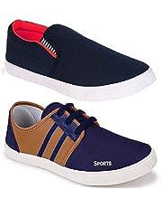 WORLD WEAR FOOTWEAR Men's Canvas Shoes (Set of 2 Pairs)