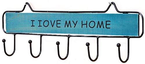 YLLN Perchero Puerta de casa Sala de Estar Dormitorio baño Cocina Madera Maciza + Gancho de Hierro Forjado (Color: Azul, Tamaño: 39 * 4 * 12 cm)