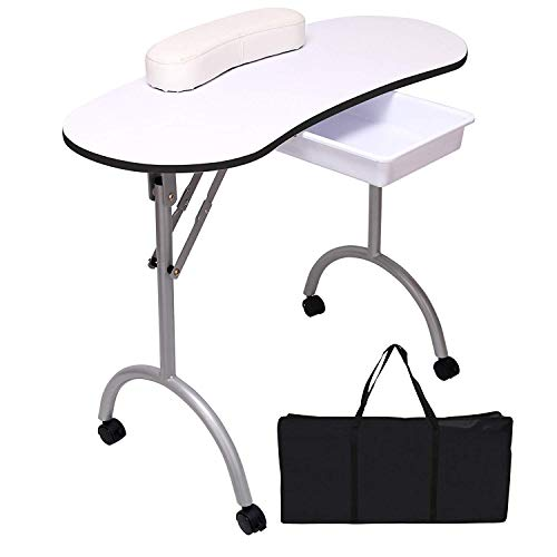 Quieting Professional Foldable Mobile Portable Manicure Nail Art Beauty Salon Table Desk White With Carry Bag