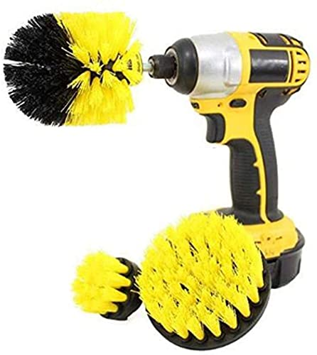 PIONEERS Drill Brush Attachment 3 Pack- Power Scrubber Brush Cleaning Kit - All Purpose Drill Brush for Bathroom Surfaces, Grout, Floor, Tub, Shower, Tile, Corners and Kitchen - Medium, Yellow