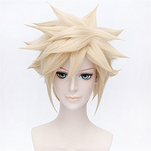 LanTing Final Fantasy VII Cloud Strife Gold Short Styled Woman Cosplay Party Fashion Anime Wig