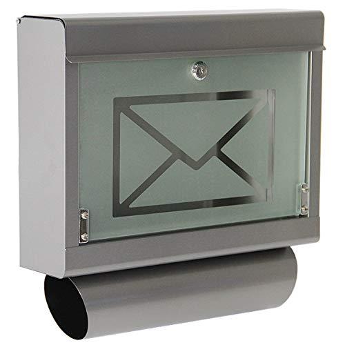 HELO 'P1' Edelstahl Briefkasten mit Zeitungsfach, großem Einwurf und Glasfront aus satiniertem Sicherheitsglas, Postkasten abschließbar inkl. 2 Schlüsseln - Motiv: Brief