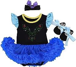 MYRISAM Christmas Costumes for Baby Girls Anna Princess Birthday Bodysuit Romper Tutu Dress w/Headband Shoes Royal Blue 6-12M