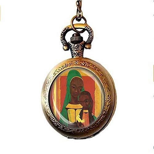Collar de reloj de bolsillo de Madonna africana, color negro, madre y bebé Jesús con medalla de paloma