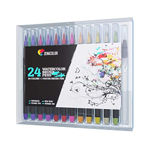 ZENACOLOR Brush Felt Pens, Set of 24
