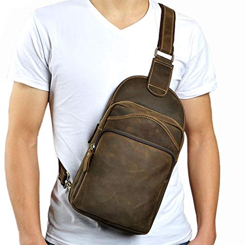 Yimao Vintage Tiding Leather Sling Shoulder Bag for Men Backpack Crossbody Casual Travel Hiking Tactical Chest Pack Daypack Fits 7.9 Inches iPad Brown