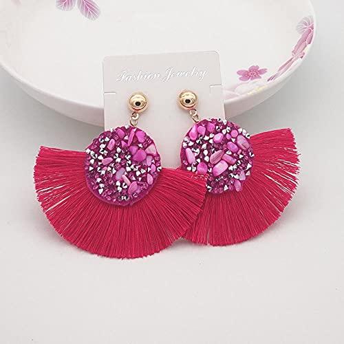 XCWXM Brillante bohemón Cristal Borla Pendientes de pedrería Piedra de imitación Larga Colgante de Borla adecuados para Damas joyería de Moda-Rosa Rojo