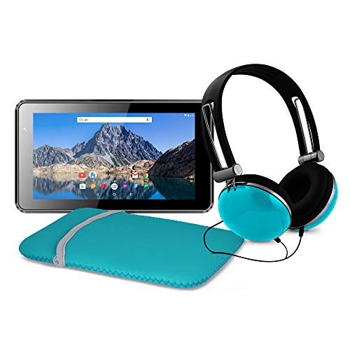 Ematic 7-Inch Android 7.1 (Nougat), Quad-Core 16GB Tablet with Folio Case and Headphones, Teal