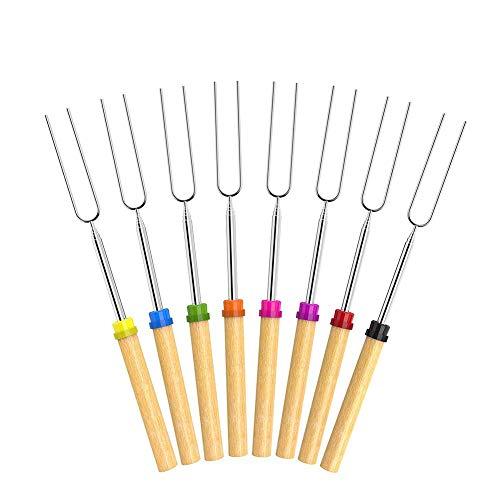 sjqc9561 8 Piezas De Asar Los Palillos De La Melcocha Asar Sticks 32 Pulgadas Extensibles Tenedores De Una Barbacoa En Los Regalos para Los Amigos De La Hoguera