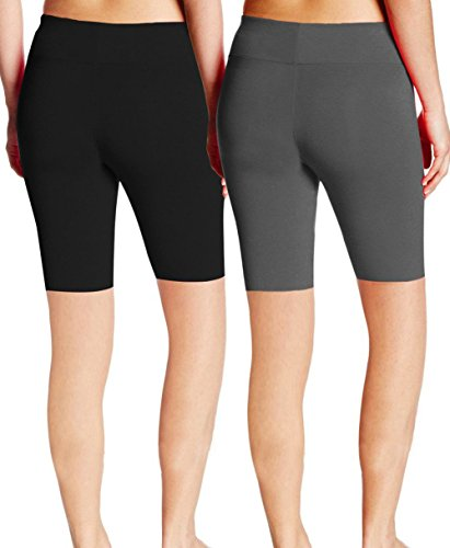 ABUSA Women's Cotton Workout Bike Yoga Shorts - Tummy Control(L,Pack Of 2 - Black & Grey)