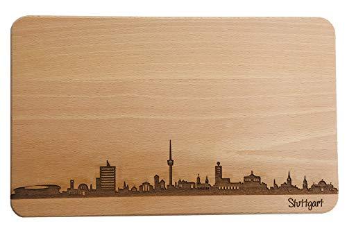 Brotzeitbrett Stuttgart Skyline | Frühstücksbrettchen aus Buche | Holz Schneidbrett | Geschenk mit Gravur | Frühstücksbrett | Baden-Württemberg (Standard (22x14x1cm), 1. ohne persönlicher Gravur)