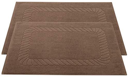 ZOLLNER Set de 2 Tapis de Bain, 100% Coton, 50x70 cm, 740g/qm, Marron