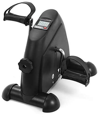 MXECO Mini Entrenador Ejercitador Ciclismo Fitness Equippemnt Pedal Bicicleta estática Interior silencioso Paso a Paso con Pantalla LCD (Negro)