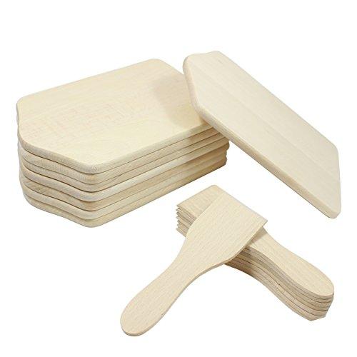 16 Teilig Raclette Zubehör Set aus Holz Racletteschaber/Brettchen 8 Untersetzer und Spachteln für 8 Personen Racletteschieber aus Buchenholz