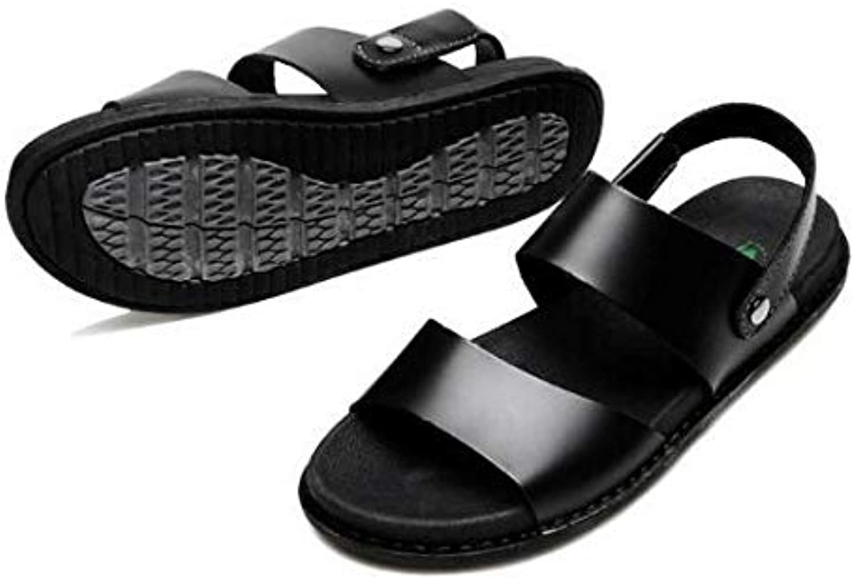 Men's Sandals, Casual Beach Slippers   Open Toe Slippers   Leather Upper   EVA Plastic Non-Slip Sole