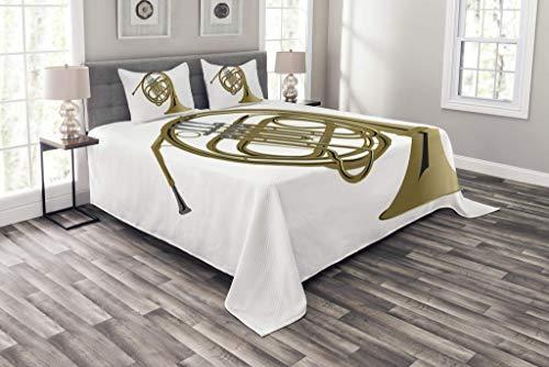 HUNKKY - Colcha musical, diseño de cuerno francés de latón, diseño de orquesta de jazz, 3 piezas, con 2 fundas de almohada, tamaño Queen, color blanco, caqui y gris