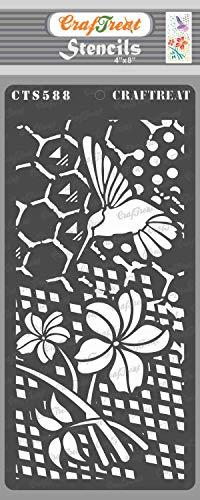CrafTreat Blumenschablonen zum Malen auf Holz, Leinwand, Papier, Stoff, Wand und Fliesen – Blume und Kolibri – 10,2 x 20,3 cm – wiederverwendbare DIY Kunst und Handwerk Schablonen für Mixed Media Art