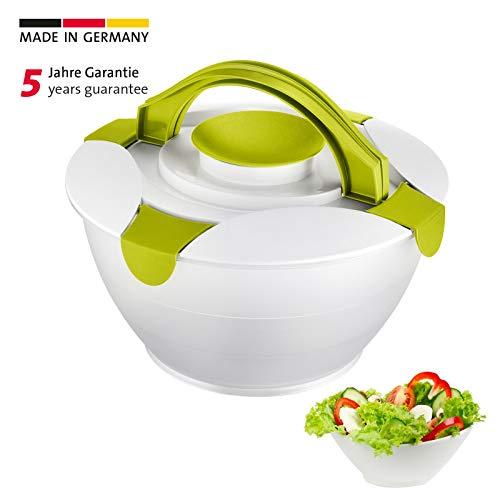 Westmark Salatbutler/-schüssel mit Tragegriffe und Dressing-Behälter, Fassungsvermögen: 6,5 Liter, Kunststoff, Praktika, Transparent/Apfelgrün, 2422227A
