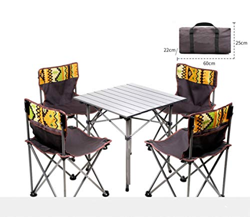 Outdoor Folding Tables And Chairs,5 Piece Camping Table & Chairs Set, Portable Storage Wild Camping Occasional Table Stool Packaged Combination, Camping Table + 4 Chairs + Carrying Bag