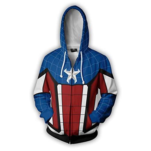 Mempire Sudaderas Hombres con Capucha Capitán América Cosplay Steve Rogers Hoodies Hombre Disfraz (H,M)