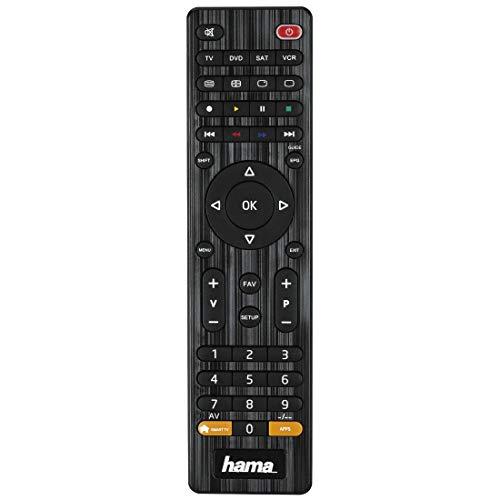 Hama Universalfernbedienung 4 in 1 Smart TV (bis zu 4 Geräte steuern, alle gängigen Marken, Receiver, Set Top Box, DVD, Verstärker, Ersatzfernbedienung, schnell programmierbar) schwarz