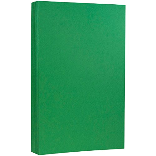 JAM PAPER Bright Coloured Cardstock - 215.9 x 355.6 mm Coverstock - 176gsm - Green Recycled - 50 Sheets/Pack