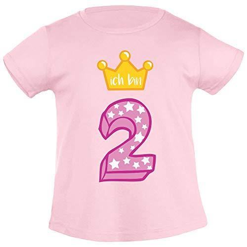 Ich Bin Zwei Goldene Krone 2 Geburtstag Mädchen T-Shirt 94 Rosa