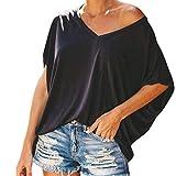VEMOW Tops Camiseta de Bolsillo de Manga Corta Popular Informal con Cuello en V para Mujer BlusaTops(Black,XL)