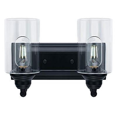 2-Light Vanity Light Fixture Modern Clear Glass Shades Lighting Black Dining Room Lighting Fixtures