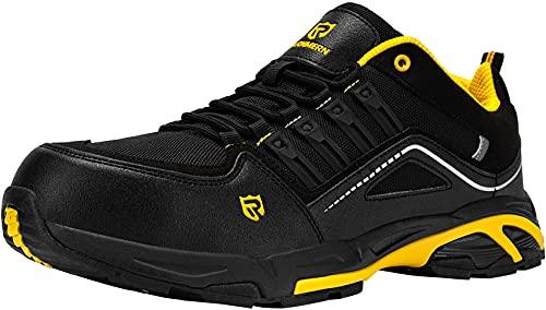 Zapatos de Seguridad Hombre,S3 Zapatillas de Seguridad Antideslizantes con Punta de Acero Antipinchazos Calzados de Trabajo 42.5,Negro Amarillo