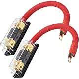 Audiotek Inline 200A ANL Fuse Holder with 1ft 0 Gauge Power Wire and O-Ring Gold Terminal to Protect Car Audio Amplifier from The Current (200A), Great for Car, Boat, RV, and Motorcycle (2 Packs)